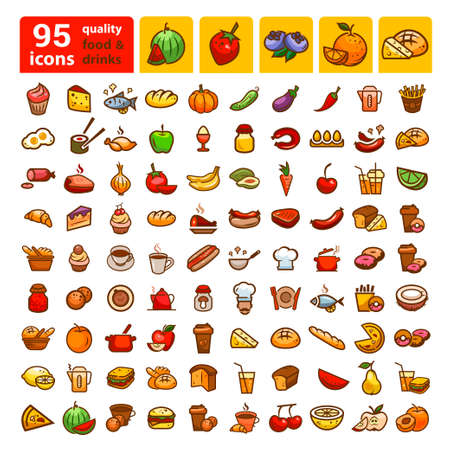 biscuit: Big set of food icons and stickers. Color design elements. Illustration