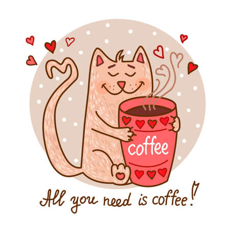 idea cartoon: Cute cartoon hand drawn cat with cup of coffee. Adorable vector clip art for your design. Isolated on wight.