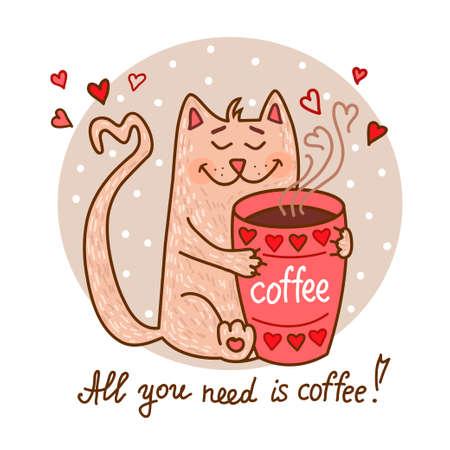 dibujado mano linda del dibujo animado del gato con la taza de café. prediseñada adorable del vector para su diseño. Aislados en Wight.