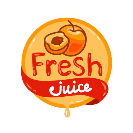 Colorful fresh apricot juice emblem, vector illustration for your design. Illustration