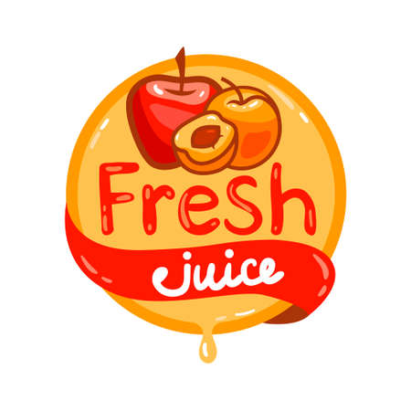 Colorful fresh cherry juice emblem, vector illustration for your design. Illustration