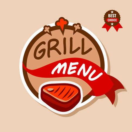 Badge, label, logo, icon design templat of grill menu 矢量图像