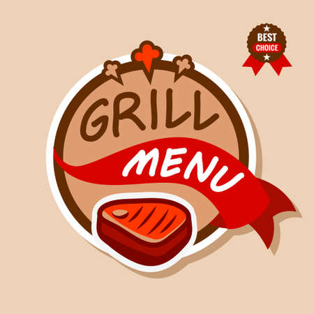 Badge, label, logo, icon design templat of grill menu Stock Illustratie