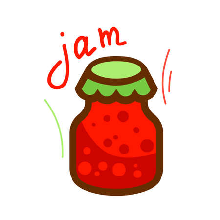confiture: The jar of jam and red berry strawberry isolated on white background. Vector illustration.