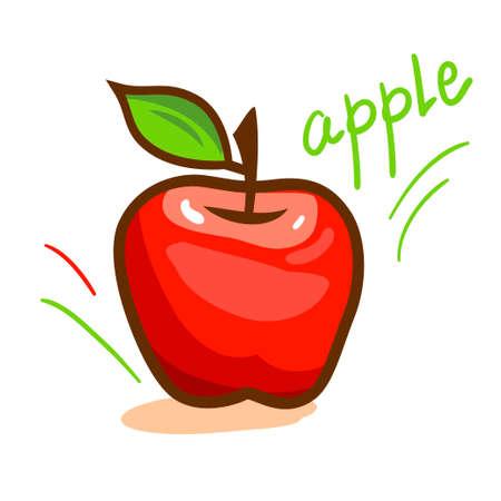 apple leaf: red apple with green leaf Illustration