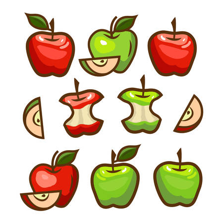 seed: red and green apples set