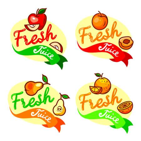 fresh juice emblem set