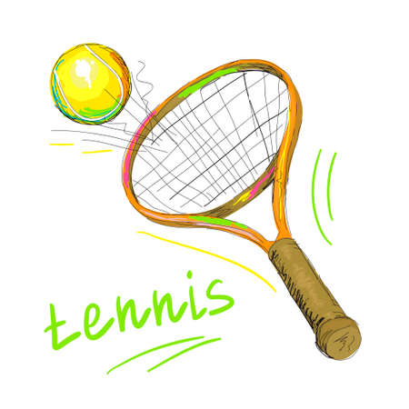 tennis racket and ball 1 Illustration