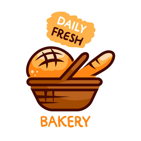 bun: Bakery shop emblem designs of fresh bakery products