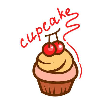 Tasty cupcake icon. Simple illustration for design