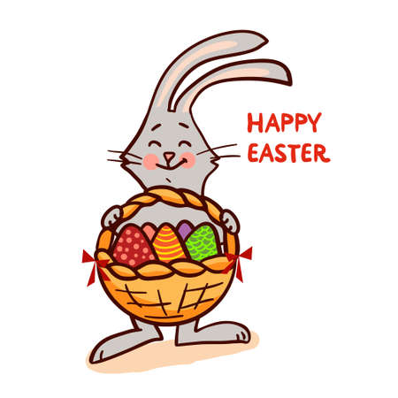 Easter bunny with basket isolated on white background. Vector illustration. Illustration