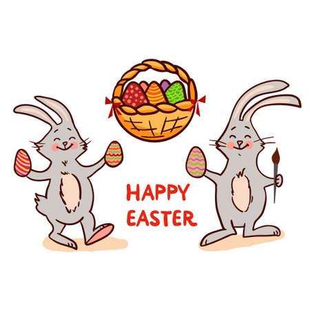 rabbit standing: Easter set isolated on white background. Vector illustration.