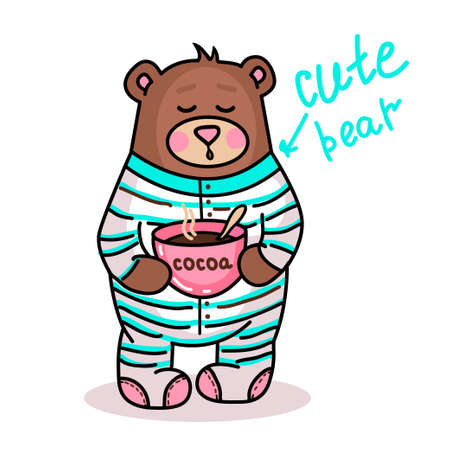 Illustration with cute teddy bear drinking cocoa and wished goodnight