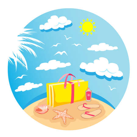 Summer time vector banner design with colorful beach elements in white background. Vector illustration. Isolated on whight.
