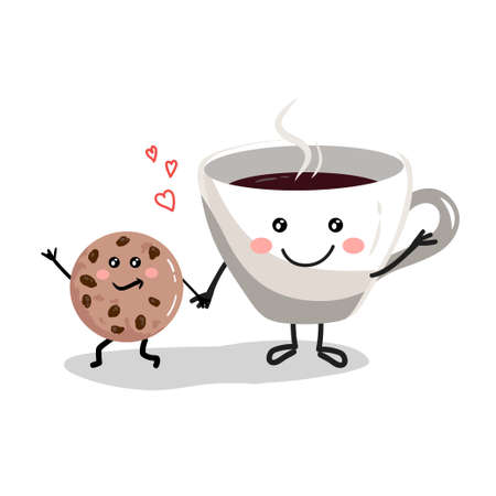 Cup of coffee with cookies cartoon characters Çizim