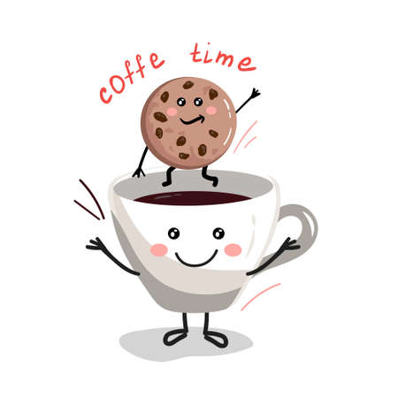 Cup of coffee with cookies cartoon characters Stock Illustratie