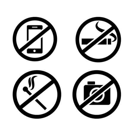 Public prohibitory signals icon set. Transparent background. Isolated on white background. Vector format.