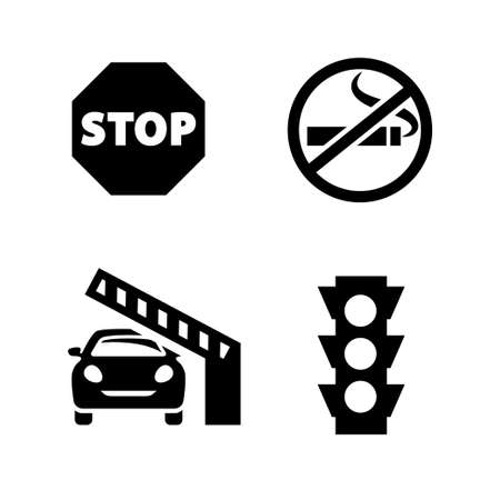 Public spaces signals fill icon set. Transparent background. Isolated on white background. Vector format. Illustration