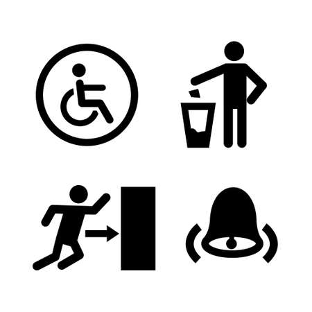 Public spaces signals fill icon set. Transparent background. Isolated on white background. Vector format. Stock Illustratie
