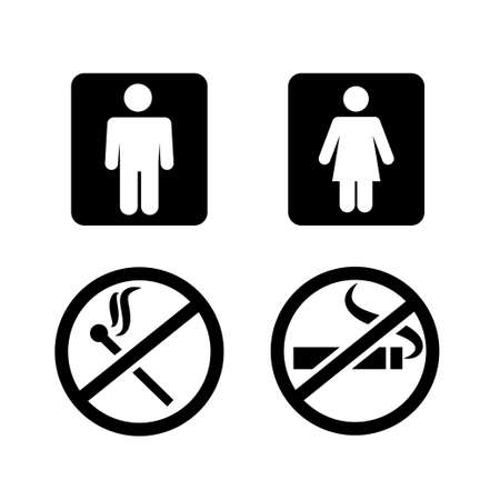 Public spaces signals fill icon set. Transparent background. Isolated on white background. Vector format. 写真素材