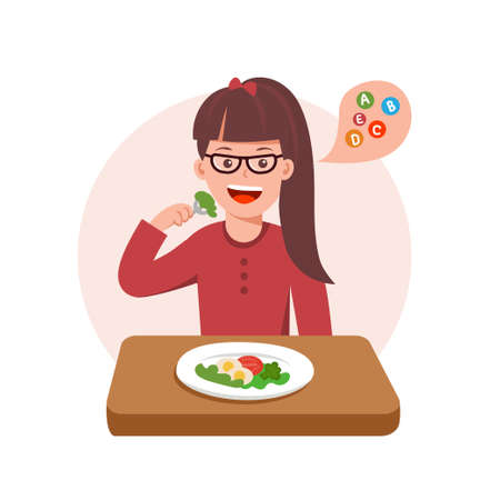 Cute curtoon vector illustration of girl sad with her dinner. Girl on a diet.