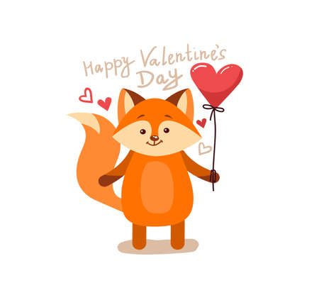 Cute cartoon lovely red fox with pink large heart and text happy valentines day. Vector illustration for web, site, greeting card, valentines day poster