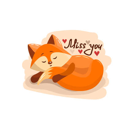 Cute cartoon lovely red fox with text miss you. Vector illustration for web, site, greeting card, valentines day poster