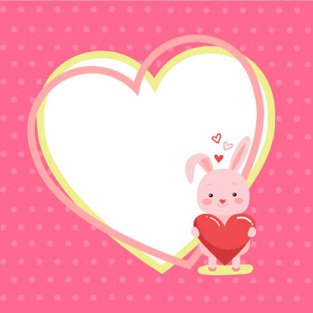 Cute cartoon lovely rabbit with pink large heart and text will you be mine. Vector illustration for web, site, greeting card, valentines day poster