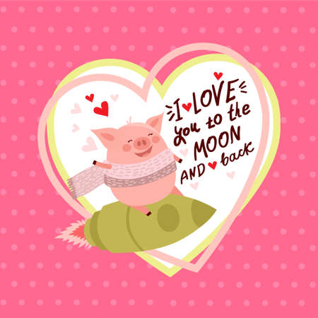 Vector illustration of cute cartoon pig with pink large heart and text i love you. Symbol of the new year 2019 for web, site, greeting card, valentine day poster