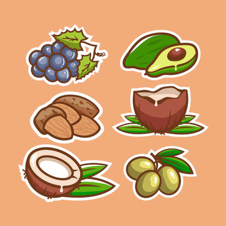 Collection of stickers organic natural products