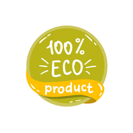round colorful eco label with text - eco product.