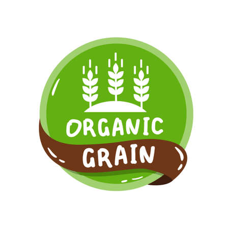 round colorful eco label with text - organic grain.