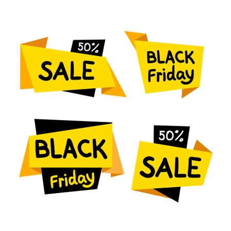 Sale tags. Big sale, discount, best price, black friday, mega sale banner. Shop or online shopping. Sticker, badge coupon set. Vector Illustration