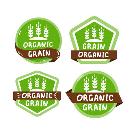 colorful eco label set with text - organic grain. Иллюстрация