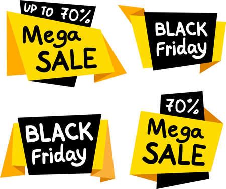 Sale tags. Big sale, discount, best price, black friday, mega sale banner. Shop or online shopping. Sticker, badge coupon set. Vector Illustration Ilustração