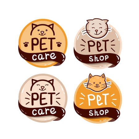 round colorful icon set with cat and text - pet shop. Vector Illustratie