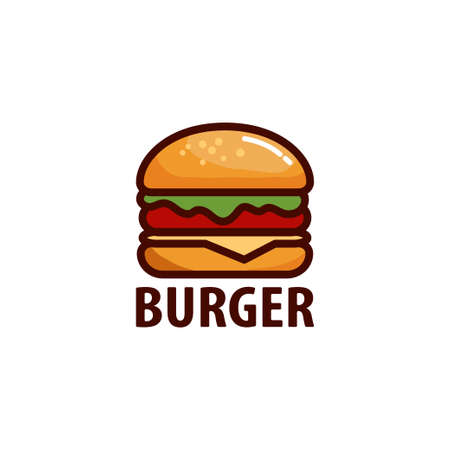 Delicious burger. Flat icon or sticker for your design, menu, website, promotional items
