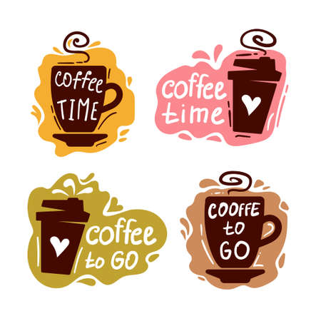 Coffee doodle logo. Restaurant coffee badge, cafe barista menu typography. Vector hand drawn bar set. Stock Illustratie