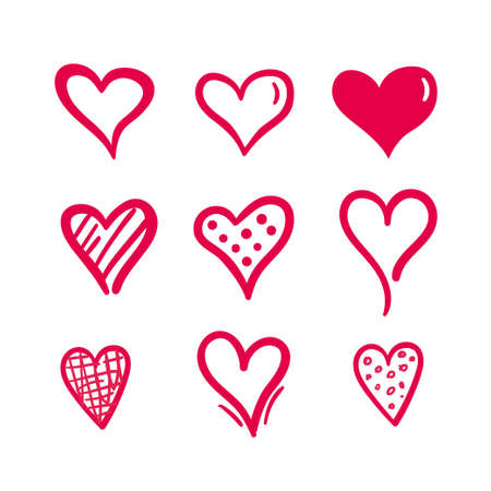 Hand drawn hearts. Design elements for Valentine s day.