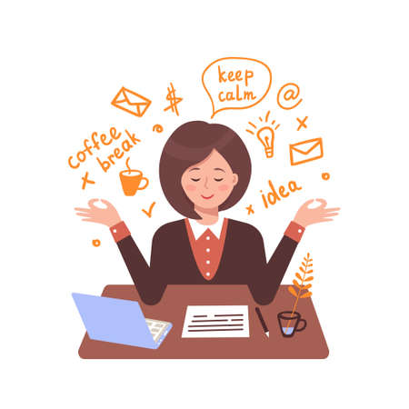 Secretary woman meditates in the workplace. Vector flat illustration with text elements.