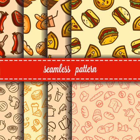 Vector seamless backgrounds set with fast food icons for your design.