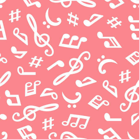 Seamless vector pattern with music notes on white background. Иллюстрация