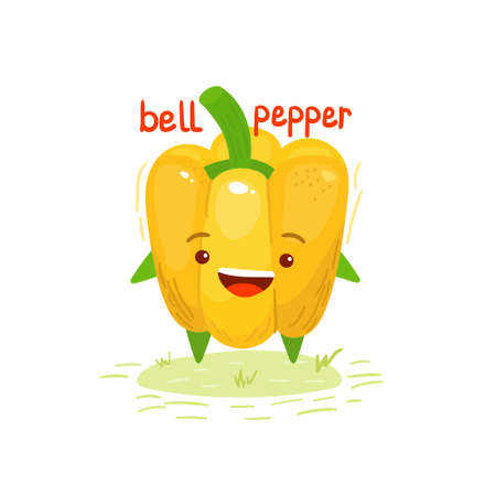 Cute, cartoon, kawaii food, pepper. Vector isolated image of a yellow pepper, bell pepper, vegetable