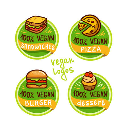 Vegan logos and icons, labels, tags. Hand drawn healthy food badges, set of vegan, healthy food signs set