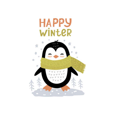 Little christmas penguin and text happy winter. Cute vector illustration in scandinavian style, doodle nursery art. Ilustracja