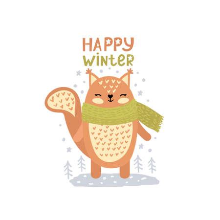 Little christmas squirreland text happy winter. Cute vector illustration in scandinavian style, doodle nursery art.