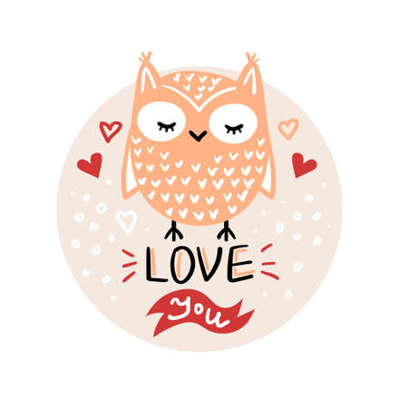 Vector, clip art, hand drawn Valentines day illustration. Funny fairy tale, forest animal, owl face. Sticker, print for cards, posters t-shirts other clothes and more 일러스트