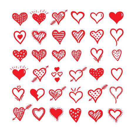 Hand drawn hearts big set. Design elements for Valentine s day.  イラスト・ベクター素材