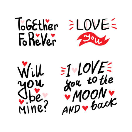 Quotes. Valentine lettering love collection. Hand drawn lettering with beautiful text about love. 矢量图片