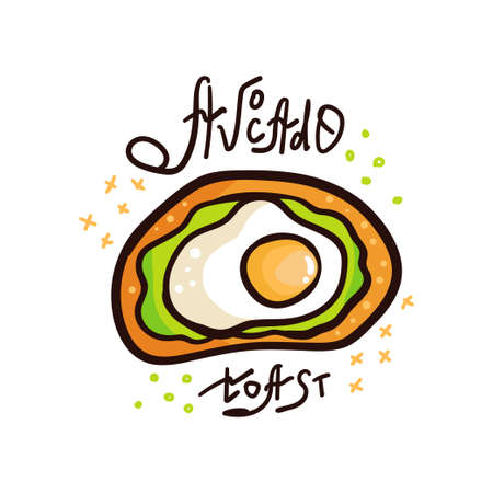 Avocado toast. Hand drawn vector illustration. Healthy wholesome breakfast with green avocado toast and egg Illustration